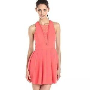 BCBGeneration Coral Pink Deep V Dress